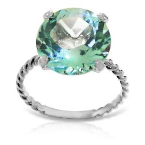 Genuine 12.0 mm Blue Topaz Round Cut Gemstone Ring 14K. Yellow, White, Rose Gold
