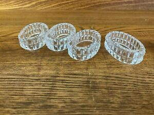 CRYSTAL GLASS  PRESSED NAPKIN RINGS, BOXED SET OF 4