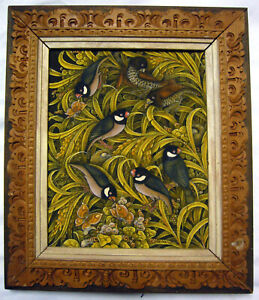 VINTAGE ORIGINAL Acrylic on Canvas Painting in Decorative Wooden Frame Bird Life