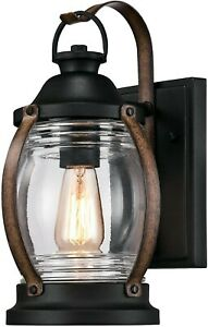 Outdoor Exterior Wall Lantern Light Fixture Sconce Vintage Black Metal Rustic