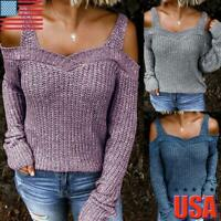US Womens Sexy Cold Shoulder Knit Jumper Long Sleeve Tops Blouse T Shirt Sweater