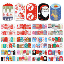 12patterns Water Decals Christmas Tree Snowflakes Gift Nail Art Transfer Sticker