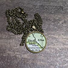 ZARAGOZA STA MARIA CIUDAD JUAREZ MEXICO Map Pendant bronze necklace ATLAS f04