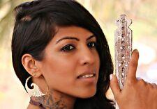 New Spiral Earring Tribal White Bone Brass Handmade Carved Angel Wings Women