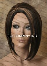 Asymmetrical Short Brown Strawberry Mix Side skin top parting Wig WBPA 4-27