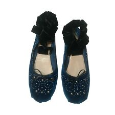 MIU MIU Blue velvet embellished lace up flats
