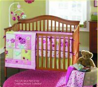 4PCS Ladybug Girls Baby Bedding Set Nursery Quilt Bumper Infant Crib Cot Skirt