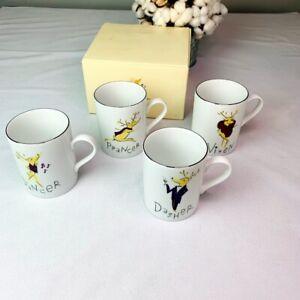 Pottery Barn Christmas Reindeer Mugs Set of 4 (Comet, Cupid, Dinner, Blitzen)