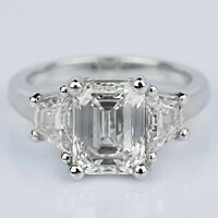 Three Stone 4.25 Carat Emerald Cut Diamond Engagement Ring Platinum I/VVS1