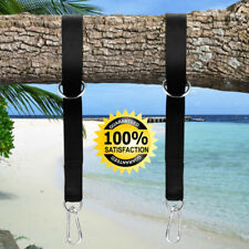 2PCS Outdoor Hammock Hanging Tree Strap Swing Rope with 2 Carabiners Hooks Black