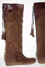 Knee High Corset Style Brown Leather Cuffable Boots by WALK 40 or US 9-9.5