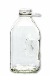 Glass Milk Bottle Container with Side Grip 2qt Half Gallon Jugs Old Fashioned