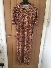 Zara Pleated Leopard Print Maxi Dress Size M