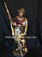 """St Saint Louis IX of France Hand Carved Painted Statue 24"""" Italy"""