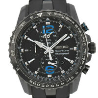 Auth SEIKO Sportura SNAF25 Chronograph SS/Rubber Quartz Men's Watch S#91265