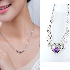 Women 925 Silver Plated Jewelry Fashion Angel Wing Heart Pendant Necklace Lover