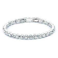 Tennis Bracelet White Gold w Swarovski Crystals GP Wedding Bridal Authentic MYJS