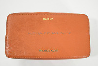 Michael Kors Mercer Large Double Zip Leather Travel/Make-up Pouch in Orange