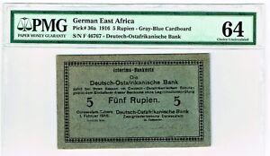 German East Africa Deutsch-Ostafrikanische Bank 5 Rupien 1.2.1916 P. 36a PMG 64