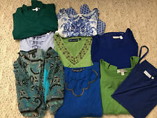 Lot Of 9 Womens Plus Size Clothing 1X Green Blue Mixed Susan Graver INC