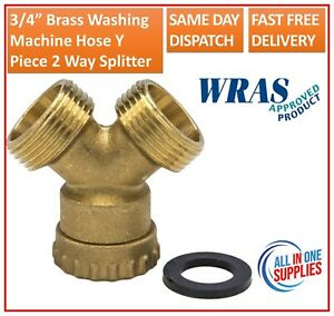 "3/4"" Brass Washing Machine Hose Y Piece Splitter Joiner Connector Union Swivel"