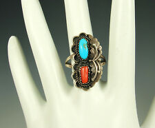 NAVAJO STERLING Ring TURQUOISE & CORAL Gemstones 1960s Old Pawn Size 8 EXCELLENT