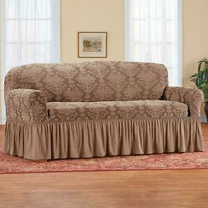 Stretch Sofa Slipcover Couch Cover Light Brown Ruffled Protective Machine Wash