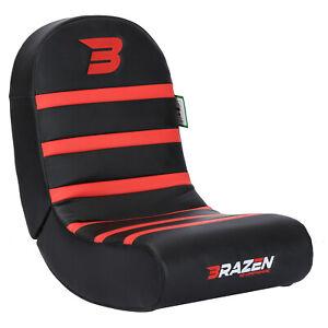 BraZen Floor Rocker Gaming Chair - Piranha - Red