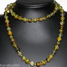 """10mm natural stone yellow dragon veins agate round beads long chain necklace 35"""""""
