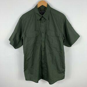 5.11 Tactical Mens Button Up Shirt Medium Green Vented Short Sleeve Collared