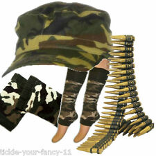 Womens Army Soldier Kit Cap Bullet Leg Warmers Wristbands Fancy Dress Camouflage