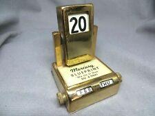 Vintage Brass Flip Date Perpetual Desk Calendar Art Deco Mercury Blueprint