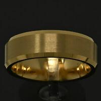 8mm Gold Tungsten Matte Finish Beveled Polished Edge Men's Wedding Band Ring TR