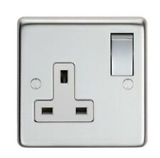 SINGLE SOCKET, 1 GANG,  POLISHED STAINLESS STEEL, POLISHED STEEL SWITCHES