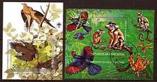 101T2 GUINEE  republique et Equatorial  2 blocs obliteres : oiseaux et singes