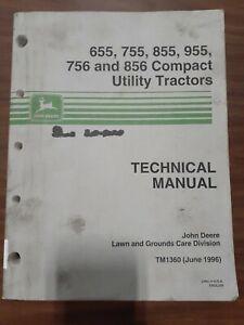 John Deere 655 755 855 Compact Utility Tractor Shop Service Repair Manual TM1360