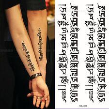 Couple Buddhist Sanskrit Temporary Tattoo Waterproof Body Arm Leg Art Stickers