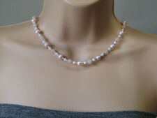 Baby Pink Cultured Potato Pearl, Crystals & Rose Quartz Stunning Beaded Necklace