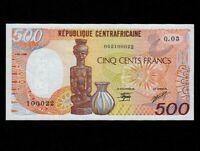 Central African Republic:P-14d,500 Francs,1989 * Carving & Jug * UNC *