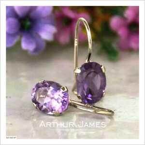 Purple Amethyst 4Ct Oval Cut Diamond Drop & Dangle Earrings 14K Rose Gold Finish
