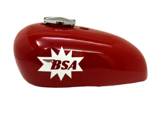 Fuel Petrol Gas Tank + Cap Red Painted Steel BSA A65 Spitfire Hornet 2 Gallon
