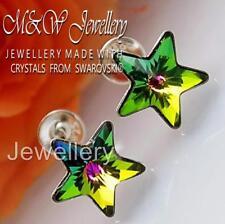 925 Sterling Silver Stud Earrings Crystals From Swarovski® STAR Vitrail Medium
