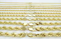 """Real 10K Yellow Gold 1mm-10mm Solid Rope Chain Link Bracelet Men Women 7"""" 8"""" 9"""""""