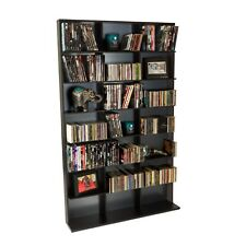 "Atlantic Oskar Adjustable Media Storage Shelf Wood Bookcase Black (60""x37"")"