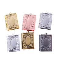 Flower Book Photo Picture Charm Pendant Gift Frame Locket Jewelry Gifts