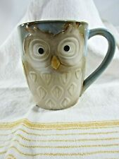 Gibson Stoneware Embossed Owl Mug Blue Golden Brown Nocturnal Bird of Prey