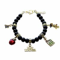Teacher Charm Bracelet Gold Red Apple-Best Teacher-Crayons-Owl-A+