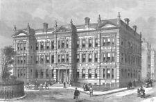LONDON. Medical Exam Hall, Savoy Place, Embankment, antique print, 1886