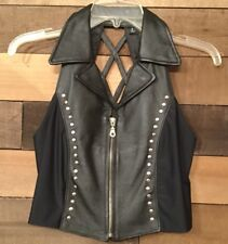 Womens Black Leather Sexy Biker Motorcycle Vest Criss Cross Back Zip Front Small