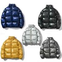 Winter Men's Glossy Reflective Puffer Jacket Cotton Quilted Short Coat Hip Hop L